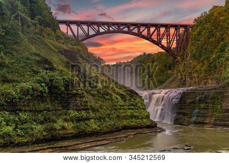 Sunset Over The Upper Falls At Letchworth State Park In New York
