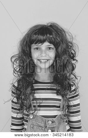 Crazy Redhead Wig. Messy Hairstyle. Kid Cheerful Smiling Happy Redhead Girl. I Am Ginger And Proud O