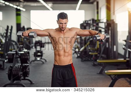 Strong Man Training His Shoulders In The Gym. Isolated Exercise For Training Deltoid Muscle. Work Ou