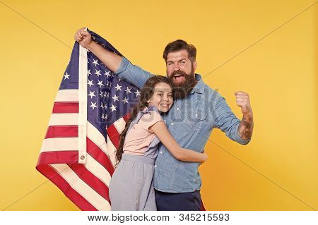The Enjoyment Of Life And Liberty. Patriotic Family Celebrating American Liberty On Independence Day