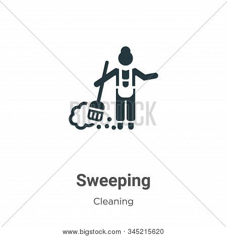 Sweeping icon isolated on white background from cleaning collection. Sweeping icon trendy and modern