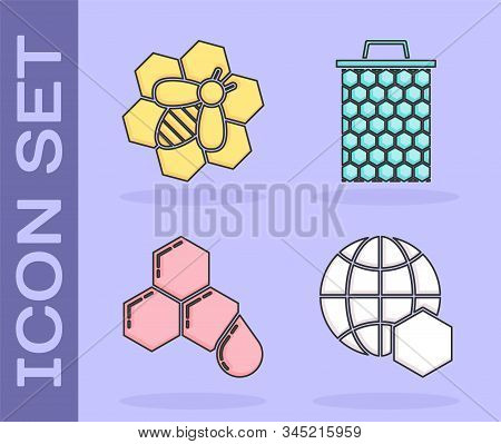 Set Honeycomb Map Of The World, Bee And Honeycomb, Honeycomb And Honeycomb Icon. Vector