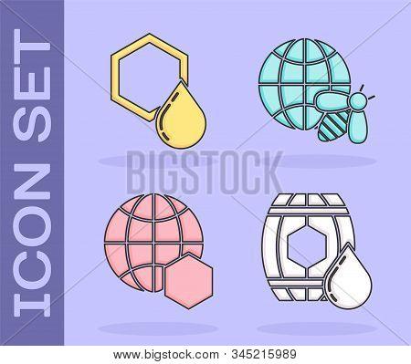 Set Wooden Barrel With Honey, Honeycomb, Honeycomb Map Of The World And Honeycomb Map Of The World A