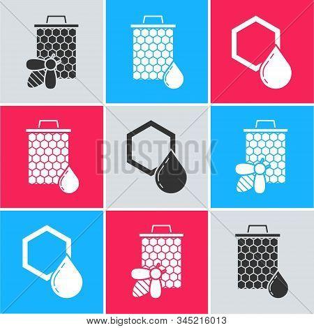 Set Bee And Honeycomb, Honeycomb And Honeycomb Icon. Vector