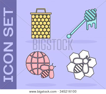 Set Bee And Honeycomb, Honeycomb, Honeycomb Map Of The World And Bee And Honey Dipper Stick With Dri