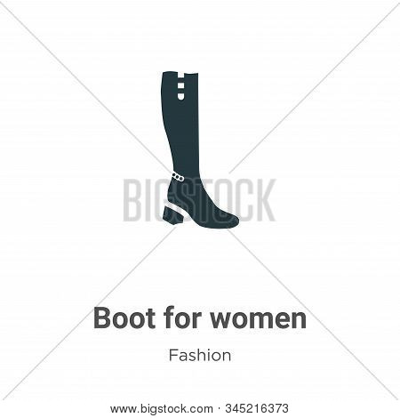 Boot For Women Vector Icon On White Background. Flat Vector Boot For Women Icon Symbol Sign From Mod
