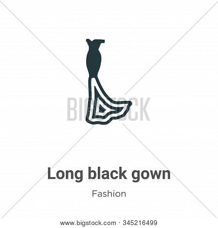 Long black gown icon isolated on white background from fashion collection. Long black gown icon tren