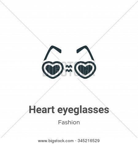 Heart eyeglasses icon isolated on white background from fashion collection. Heart eyeglasses icon tr
