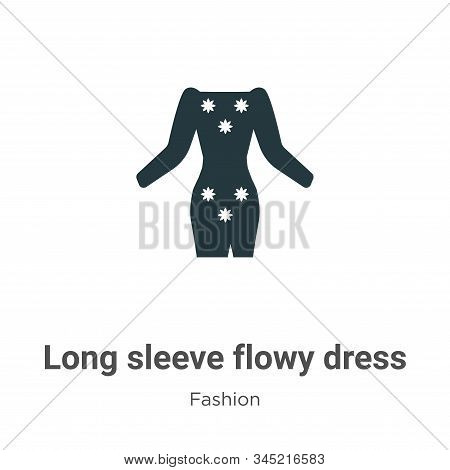 Long sleeve flowy dress icon isolated on white background from fashion collection. Long sleeve flowy