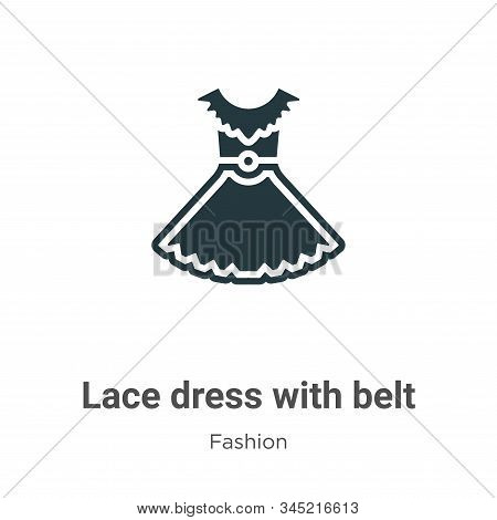 Lace dress with belt icon isolated on white background from fashion collection. Lace dress with belt