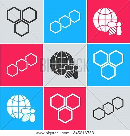 Set Honeycomb, Honeycomb And Honeycomb Map Of The World And Bee Icon. Vector
