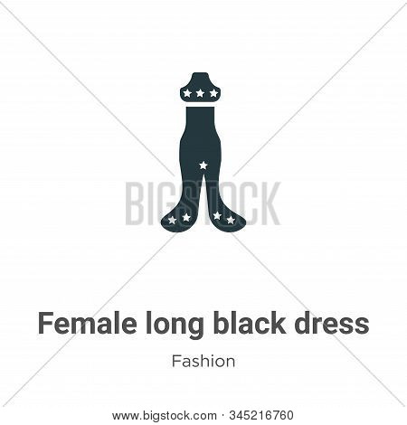 Female long black dress icon isolated on white background from fashion collection. Female long black