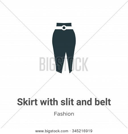 Skirt with slit and belt icon isolated on white background from fashion collection. Skirt with slit