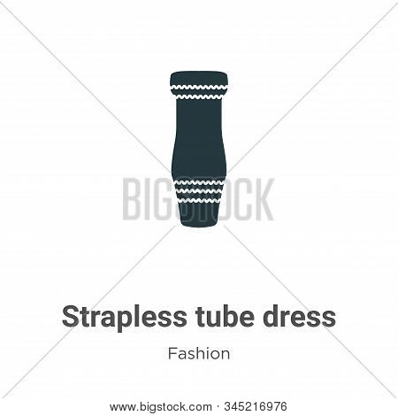 Strapless tube dress icon isolated on white background from fashion collection. Strapless tube dress