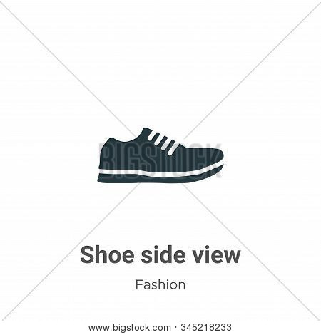 Shoe Side View Vector Icon On White Background. Flat Vector Shoe Side View Icon Symbol Sign From Mod