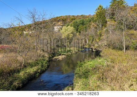 Whitewater State Park River And Bluffs Autumn Landscape In Driftless Region Of Southeastern Minnesot