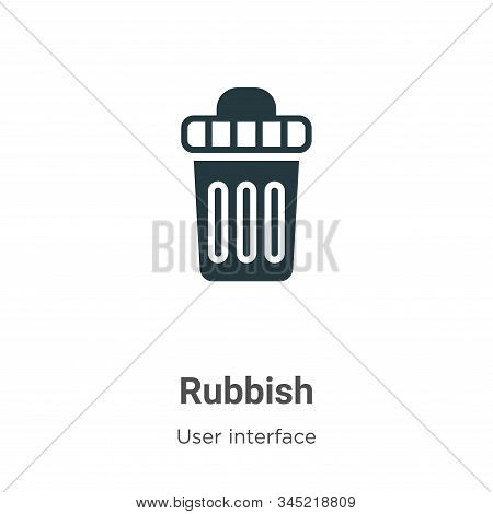 Rubbish Vector Icon On White Background. Flat Vector Rubbish Icon Symbol Sign From Modern User Inter