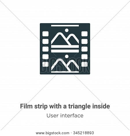 Film strip with a triangle inside vector icon isolated on white background from modern user interfac