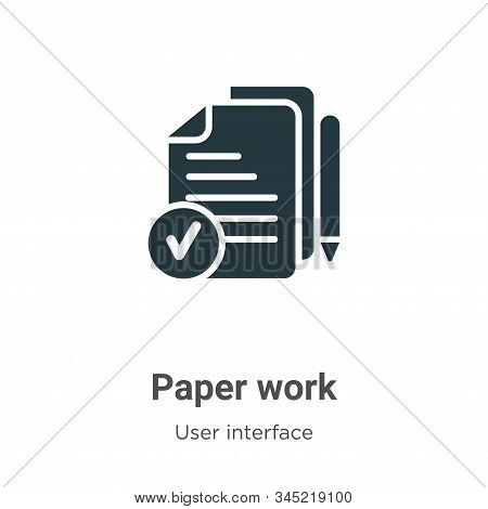 Paper work icon isolated on white background from user interface collection. Paper work icon trendy