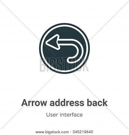 Arrow address back icon isolated on white background from user interface collection. Arrow address b