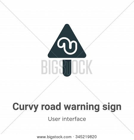 Curvy road warning sign icon isolated on white background from user interface collection. Curvy road