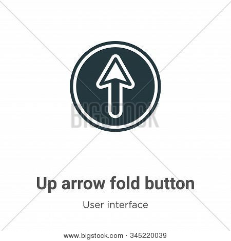 Up arrow fold button icon isolated on white background from user interface collection. Up arrow fold