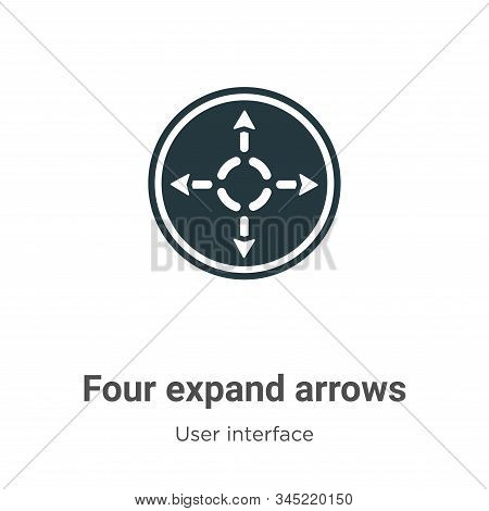 Four expand arrows icon isolated on white background from user interface collection. Four expand arr