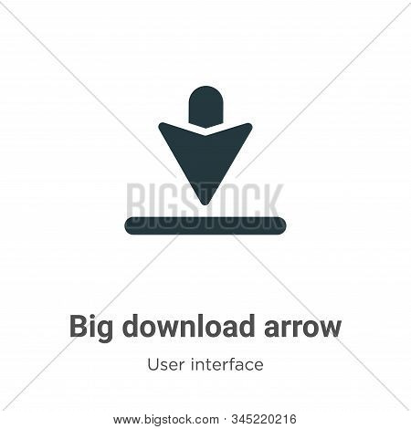 Big download arrow icon isolated on white background from user interface collection. Big download ar