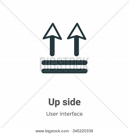 Up side icon isolated on white background from user interface collection. Up side icon trendy and mo