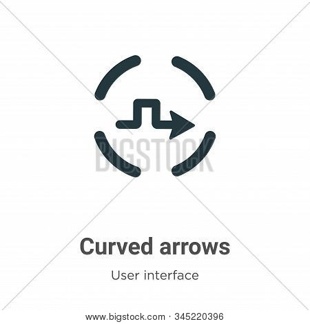 Curved arrows icon isolated on white background from user interface collection. Curved arrows icon t