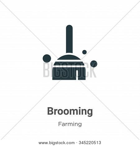 Brooming Vector Icon On White Background. Flat Vector Brooming Icon Symbol Sign From Modern Gardenin