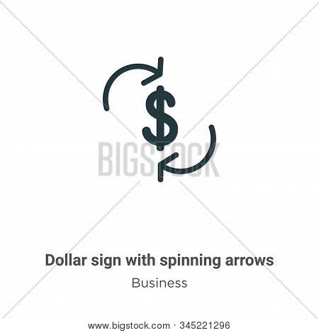 Dollar sign with spinning arrows icon isolated on white background from business collection. Dollar