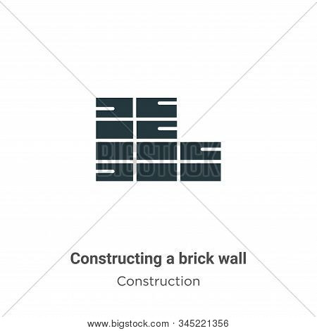 Constructing a brick wall icon isolated on white background from construction collection. Constructi