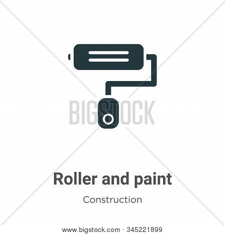 Roller And Paint Vector Icon On White Background. Flat Vector Roller And Paint Icon Symbol Sign From