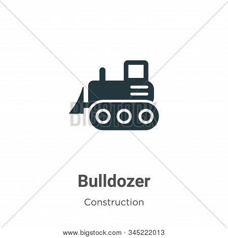 Bulldozer Vector Icon On White Background. Flat Vector Bulldozer Icon Symbol Sign From Modern Constr