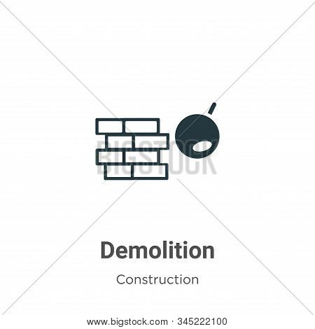 Demolition Vector Icon On White Background. Flat Vector Demolition Icon Symbol Sign From Modern Cons