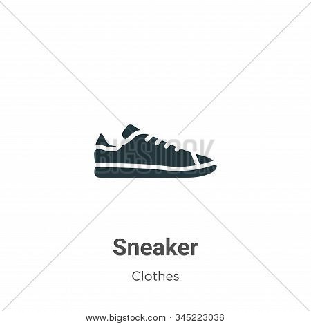 Sneaker Vector Icon On White Background. Flat Vector Sneaker Icon Symbol Sign From Modern Clothes Co