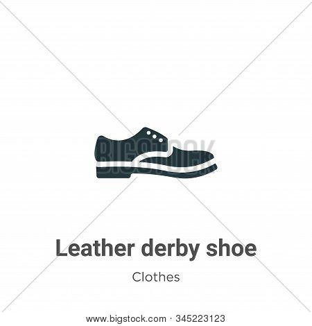 Leather Derby Shoe Vector Icon On White Background. Flat Vector Leather Derby Shoe Icon Symbol Sign