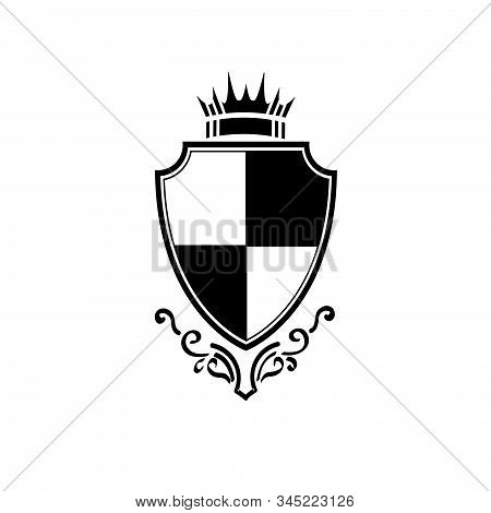 Simple Vintage Knight Prince Crown Shield Vector Logo And Icon