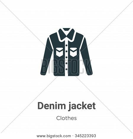 Denim Jacket Vector Icon On White Background. Flat Vector Denim Jacket Icon Symbol Sign From Modern