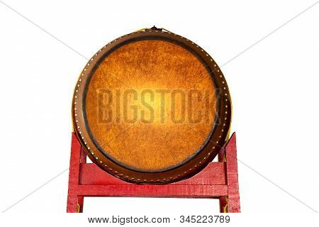 Drum In Chinese Shrine Isolated On White Background