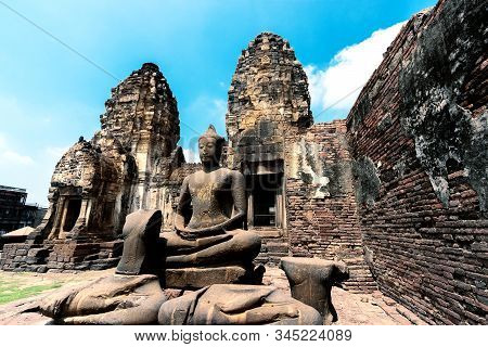 Ancient Ruins Of Buddha Statue, Archaeological Site At Phra Prang Sam Yot In Lop Buri Province, Thai