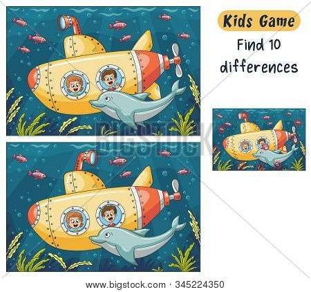 Find 10 Differences. Funny Cartoon Game For Kids, With Solution. Vector Illustration With Separate L