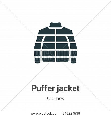 Puffer Jacket Vector Icon On White Background. Flat Vector Puffer Jacket Icon Symbol Sign From Moder