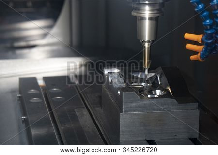 The Cnc Milling Machine Finishing Cut The Injection Mold Parts With The Solid Ball  Endmill Tools. T