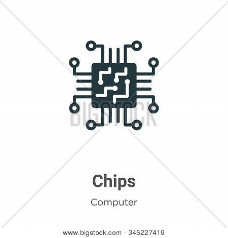 Chips icon isolated on white background from computer collection. Chips icon trendy and modern Chips