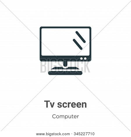 Tv screen icon isolated on white background from computer collection. Tv screen icon trendy and mode