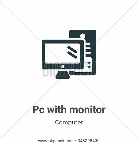 Pc with monitor icon isolated on white background from computer collection. Pc with monitor icon tre