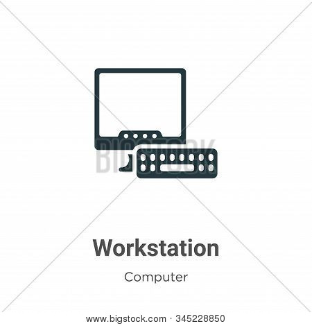 Workstation icon isolated on white background from computer collection. Workstation icon trendy and