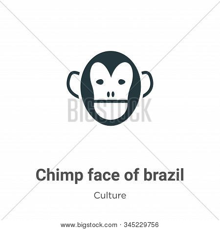 Chimp face of brazil icon isolated on white background from culture collection. Chimp face of brazil